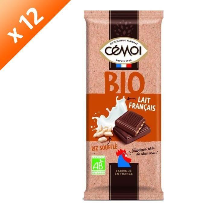 CEMOI Lot de 12 Tablettes - Familiale Chocolat au lait & riz soufflé - Bio - 100g