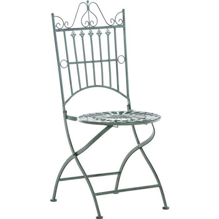 Chaise de Jardin Pliante Sadao en Fer forgé avec Hauteur d'Assise 44 cm [Vert antique]