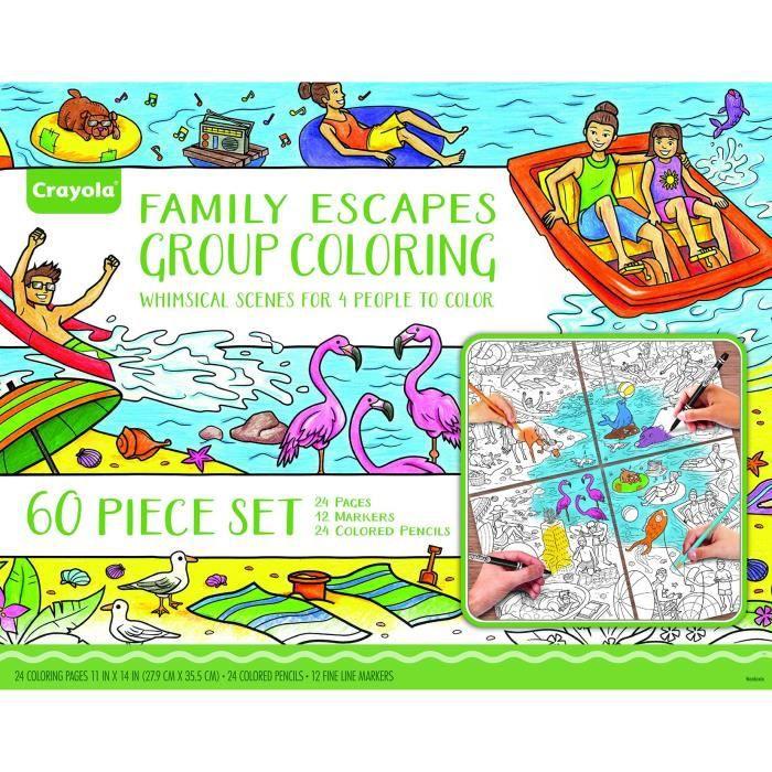 CRAYOLA Escapes Groupe de coloration Kit Famille, Famille Art Project, Adulte Coloring, cadeau FTB4C