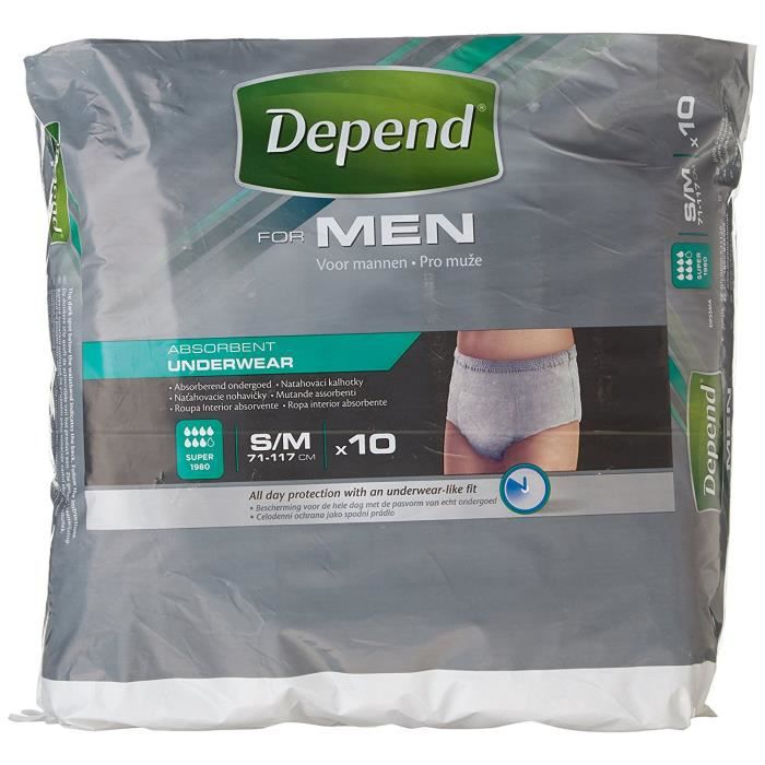 Depend Lycra Sous-vêtements pour hommes - taille S-M: Hygiène et Soins du corps