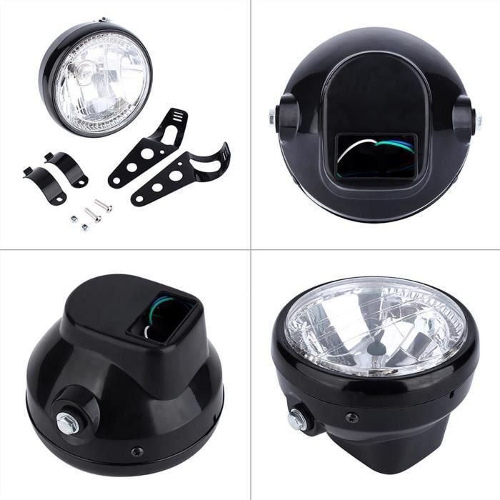 HURRISE phare de moto 7 'Phare LED Jaune Universel 12V H4 35W Moto Rond avec Support Noir