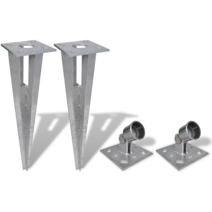 2 Kits Support pour jambe de force à enfoncer poteaux ancrer clôtures haute qualité durable