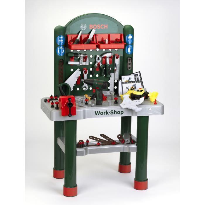 KLEIN - Jouet Établi Bosch Workshop avec visseuse mécanique et véhicule à monter - 3 ans et +