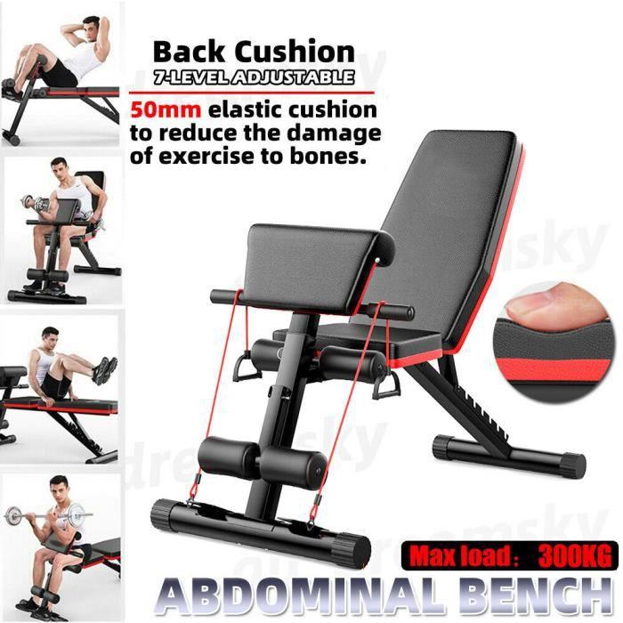 NEUFU Banc de Musculation incliné Pliable Dossier réglables en 7 Positions Formation d'exercice Max 300KG
