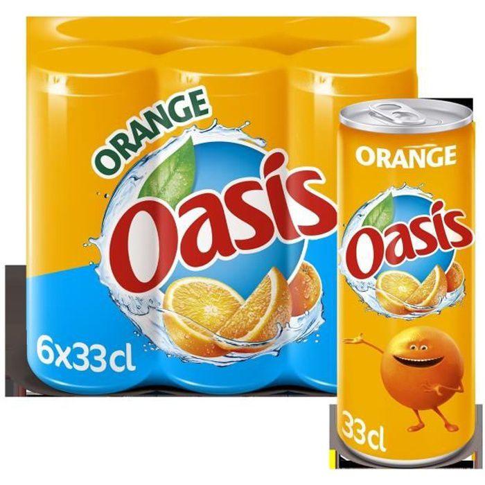 OASIS Pack de 6 canettes de Boissons aux fruits et à l'eau de source - Nature slim - Saveur orange - 33 cl