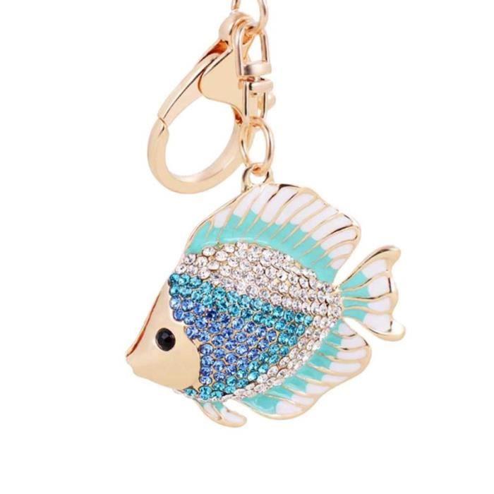 Porte-clés créatifs cadeaux femmes sac pendentif porte-clés petit poisson en forme de fille (bleu) ALARME AUTONOME