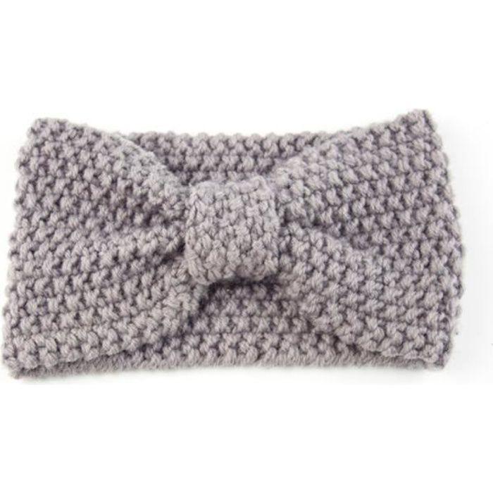 Femme Temps chaud Bandeau en tricot élastique Crochet Bow Serre-tête oreilles d'hiver plus chaud gris Style2