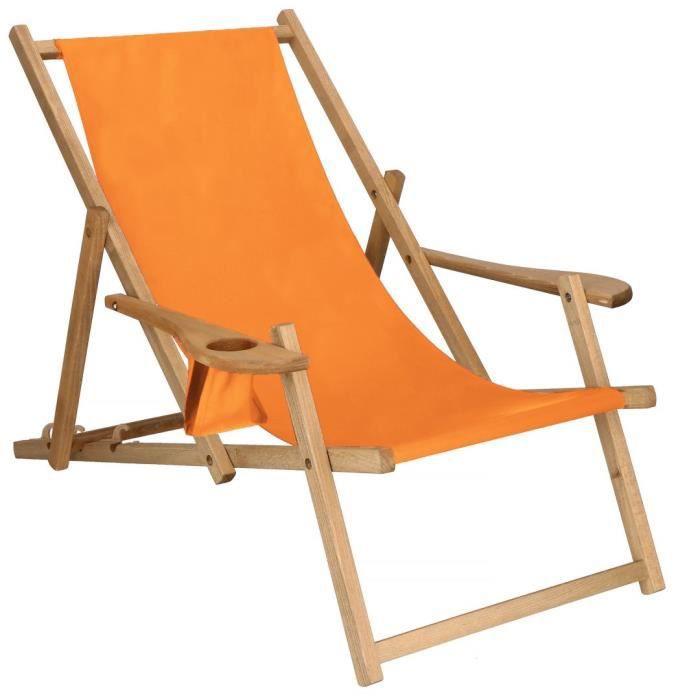Chaise longue en bois imprégné Avec accoudoirs - Orange