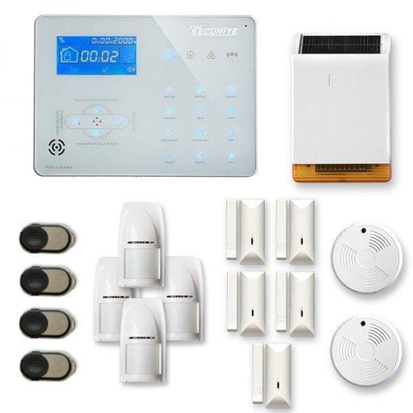 Alarme maison sans fil ICE-B 4 à 5 pièces mouvement + intrusion + détecteur de fumée + sirène extérieure solaire - Compatible Box in