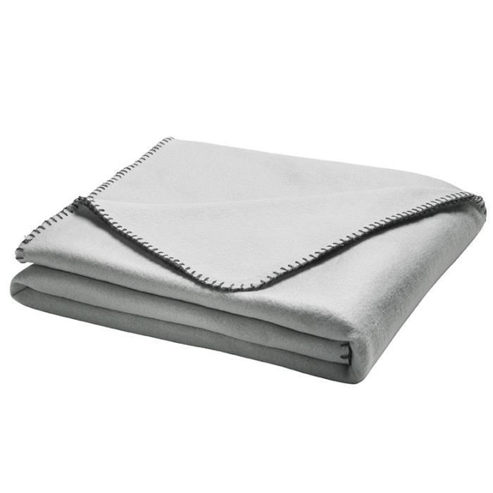TODAY Plaid Access - 100% polyester - 125 x 150 cm - Gris Clair / Gris Foncé
