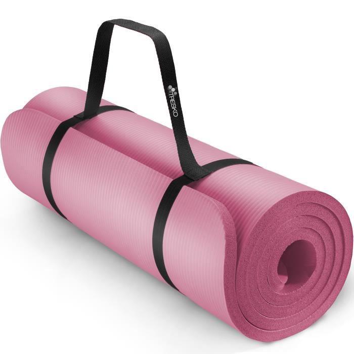 TRESKO Tapis d'exercice fitness yoga pilates gym, en Mousse NBR (185 x 60 x 1,5cm) Rose