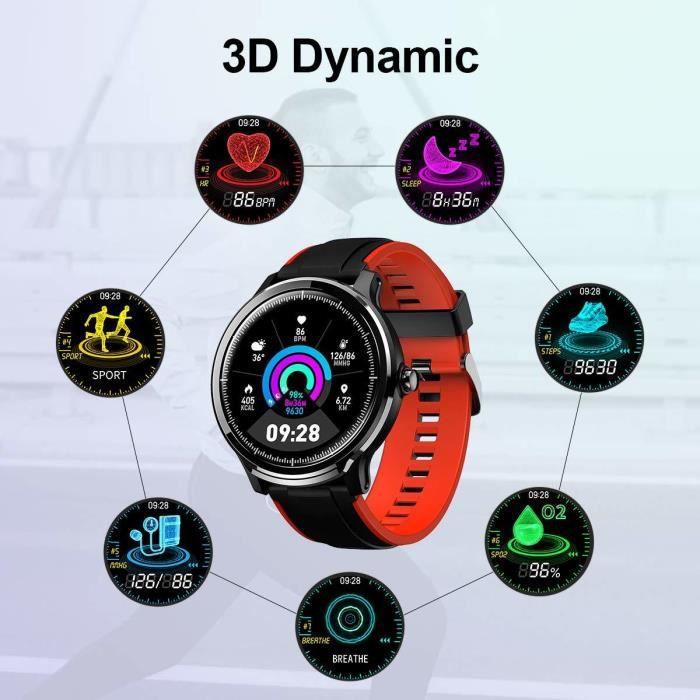 Montre Connectée Homme Smartwatch Full Tactile Montre Sport Moniteur de Fréquence Cardiaque Calories Fitness Tracker Etanche IP68