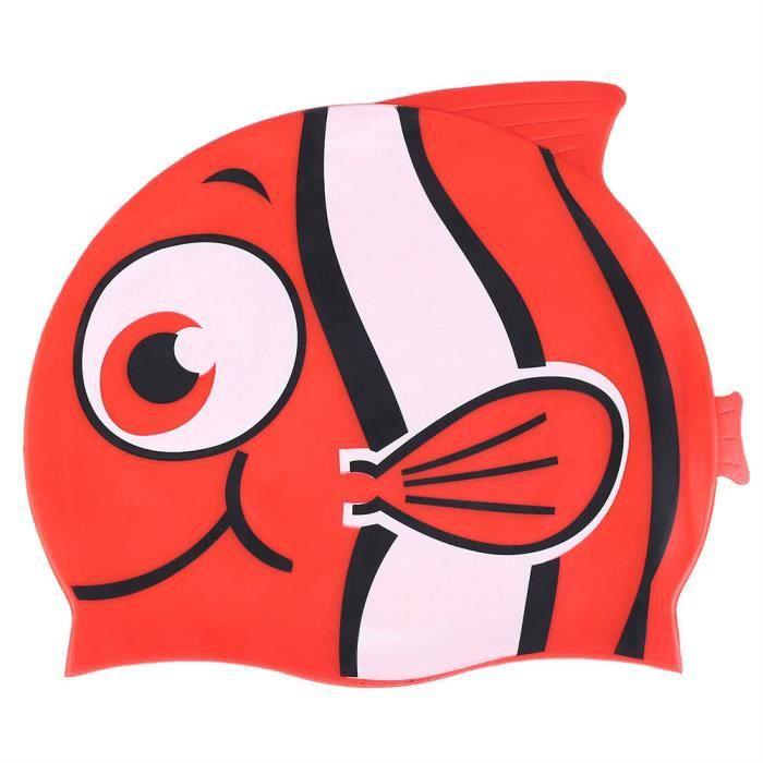 VINGVO bonnet de bain pour enfant Bonnet de bain en silicone élastique pour enfant Bonnet de bain en forme de poisson (rouge)