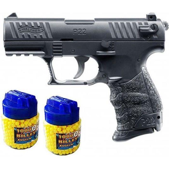 Walter P22Q Pistolet à billes métal noir + 2000 billes - Airsoft