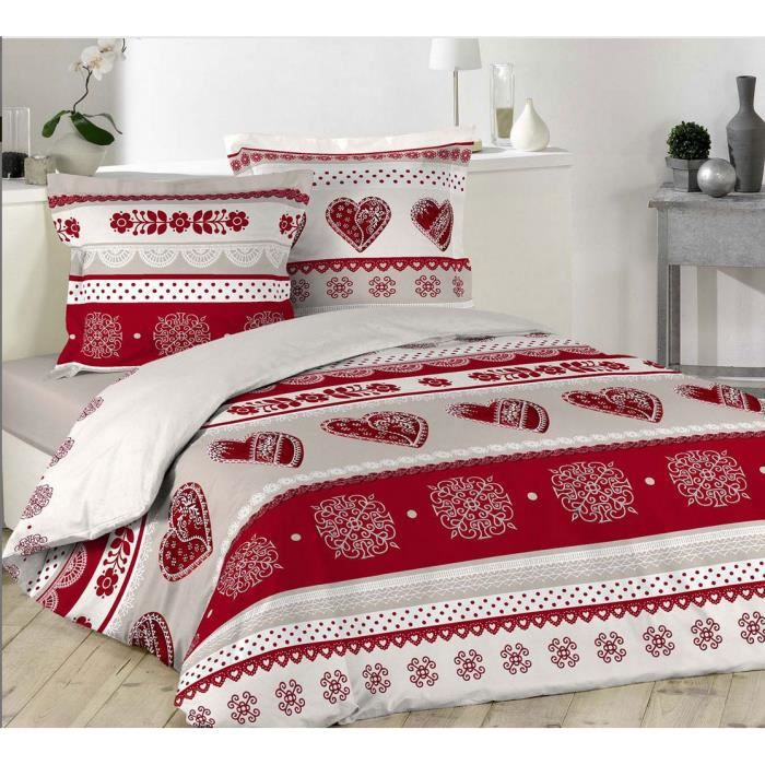 housse de couette coeur rouges 240 x 260 charme montagne 2 taies d oreiller 100 coton achat. Black Bedroom Furniture Sets. Home Design Ideas