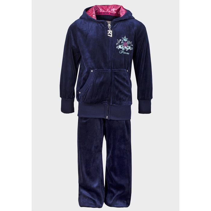 surv tement velours enfant fille 16 ans pantalon jogging et veste capuche bleu marine strass. Black Bedroom Furniture Sets. Home Design Ideas