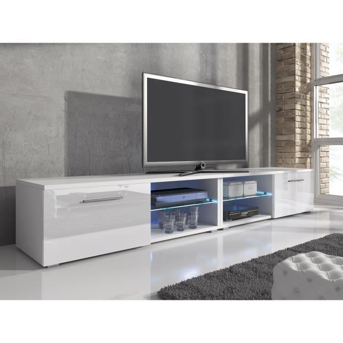 meuble tv samuel blanc 240cm achat vente meuble tv meuble tv samuel blanc 240c soldes d. Black Bedroom Furniture Sets. Home Design Ideas
