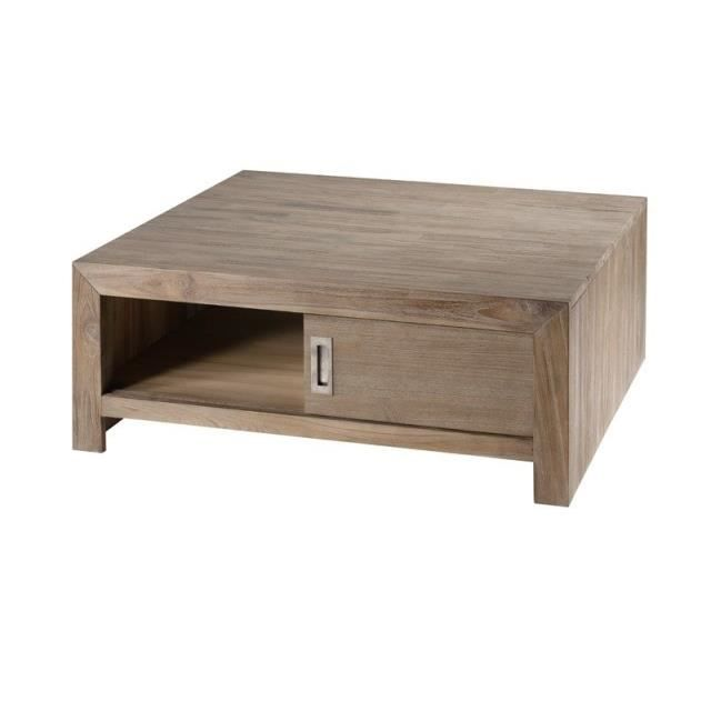 Table basse carr e en teck gris achat vente table - Table basse carree grise ...