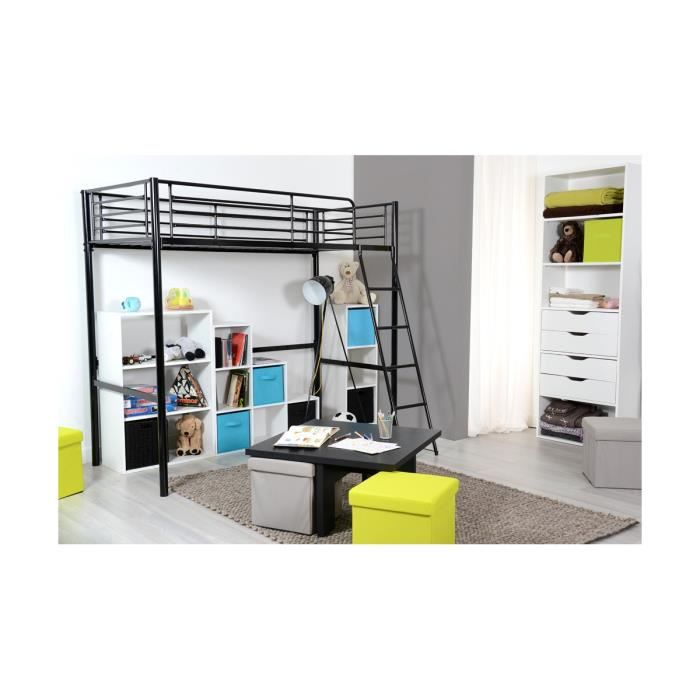 perth noir lit mezzanine 90x190 achat vente lit mezzanine perth noir lit mezzanine. Black Bedroom Furniture Sets. Home Design Ideas