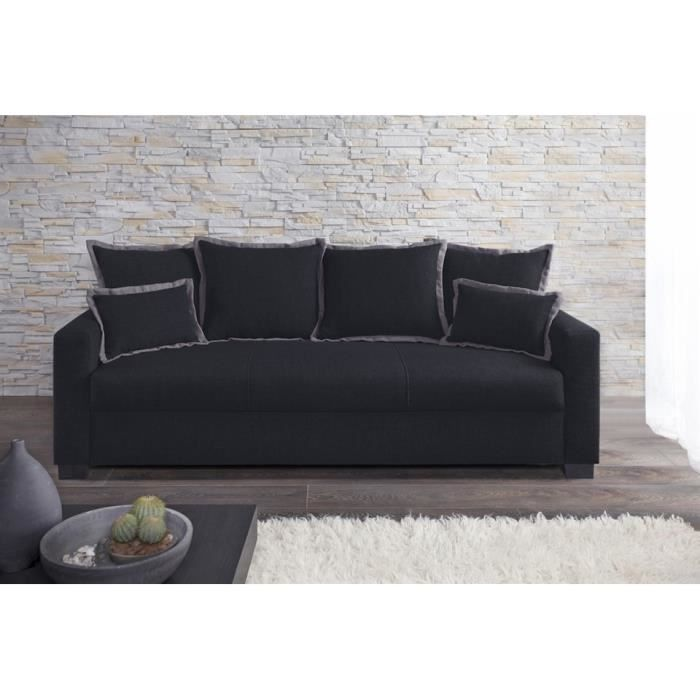 Canap fixe 3 places switsofa clara tissu noir achat for Canape fixe tissu 3 places