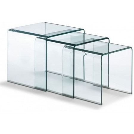 set de 3 tables gigognes en verre transparent achat. Black Bedroom Furniture Sets. Home Design Ideas