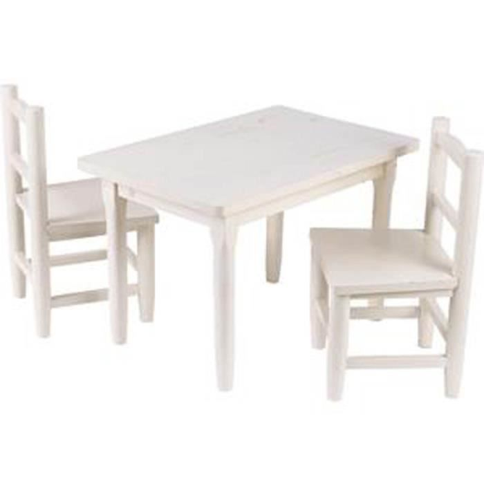 table et 2 chaises pour enfants en pin blanchi blanc achat vente table et chaise. Black Bedroom Furniture Sets. Home Design Ideas