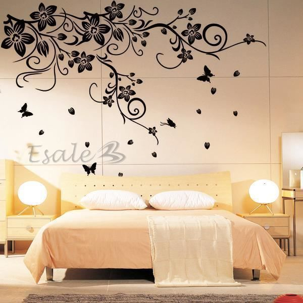 stickers muraux fleurs noires achat vente pas cher. Black Bedroom Furniture Sets. Home Design Ideas