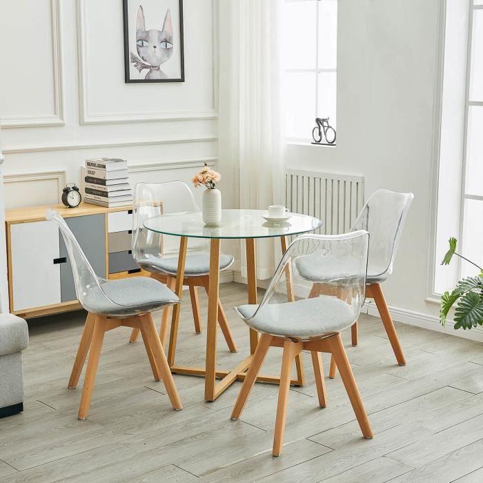 Dorafair Table A Manger Ronde Verre Transparent Design 4 Chaises