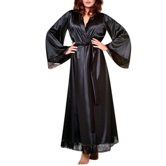 Homme satin de soie longue robe Robe Peignoir Chemise de nuit pyjama /_/_ pour grand cadeau