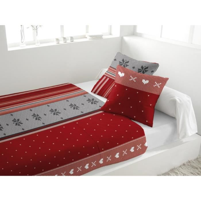 parure de drap en flanelle neige rouge achat vente parure de drap cdiscount. Black Bedroom Furniture Sets. Home Design Ideas