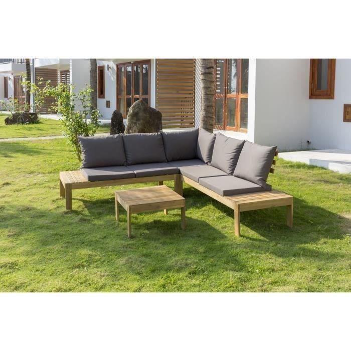 Salon de jardin en bois d\'acacia 4 personnes SAYADA Bois et coussins gris