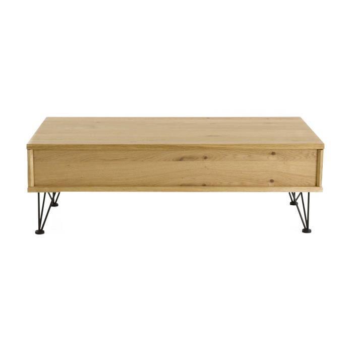 TABLE BASSE Table basse relevable plaqué chêne et métal Laponi