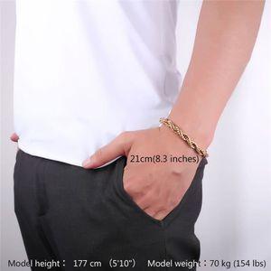 BRACELET - GOURMETTE U7 Bracelet Gourmette-Maille Corde-9mm de Large-Ac