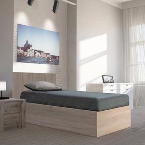 STRUCTURE DE LIT Lit coffre MADRID 90X190 + 1 sommier / Chêne blanc