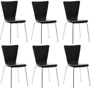 CHAISE 6x chaises de cuisine en bois noir avec assise rem