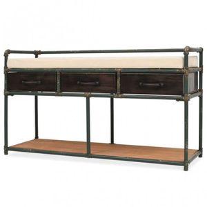 BANC Banc de rangement avec tiroirs et coussin en acier