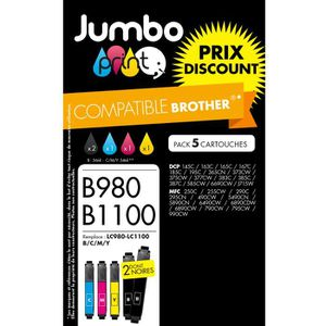CARTOUCHE IMPRIMANTE Pack 5 cartouches compatibles Brother LC980/LC1000