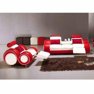 CANAPÉ - SOFA - DIVAN Ensemble cuir relax OSLO 3+1 places blanc et rouge