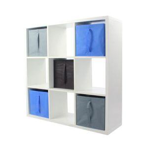 MEUBLE ÉTAGÈRE COMPO Meuble De Rangement 9 Cases + 5 Cubes Bleu/G
