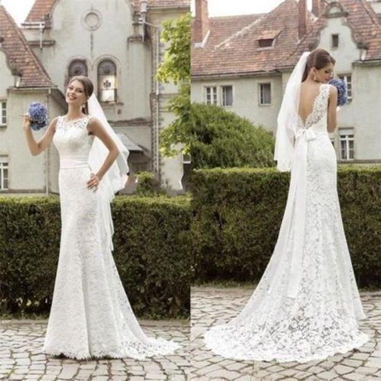 Robe de mariée de mariage sirène dentelle