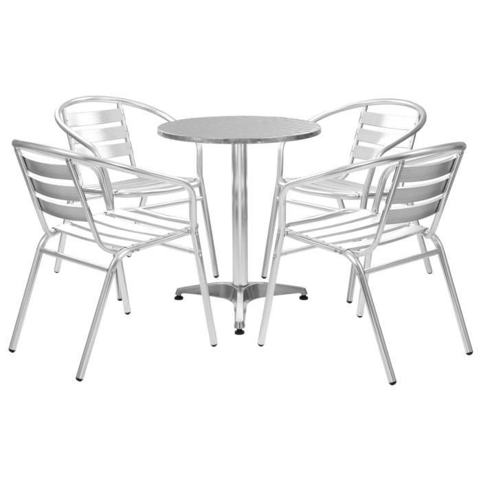 FIHERO Table de bar 120x60x105 cm Bois de teck solide et inox☻1