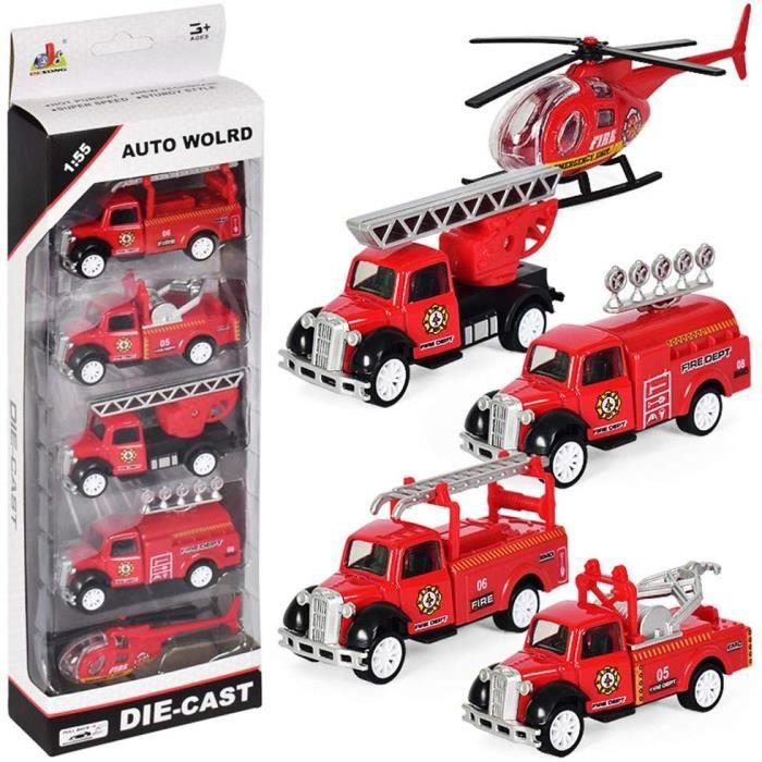 éhicule de Camion de pompier Jouet Voiture Miniature Voiture de Friction pour Enfants à partir de 3 4 5 6 Ans, Lot de 5