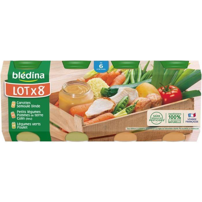 BLEDINA Petits pots 2x carottes semoule dinde 4x légumes verts poulet 2x légumes pdt colin - 8x200 g - Dès 6 mois