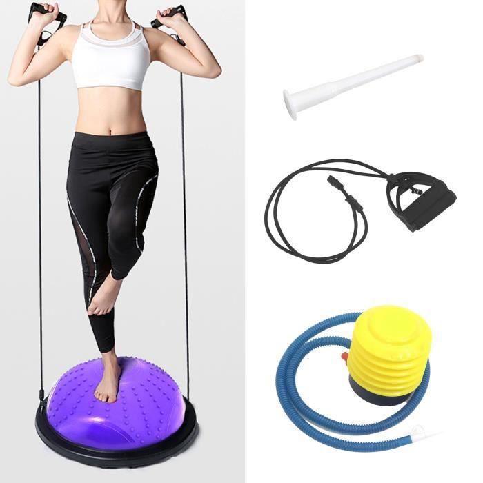 ISE Balance trainer, Demi-Ballon d'Entraînement Ø 46 cm,avec Câbles de Resistance et Pompe,pour Yoga, Gymnastique,Pourpre