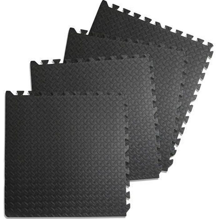 60 X 60 cm Tapis de sol ,Sport, Gymnastique, Yoga, Tapis Puzzle Antidérapant Mousse Noir