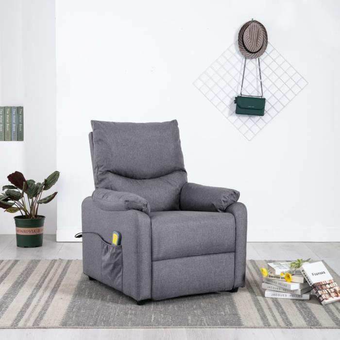 Fauteuil de massage Fauteuil électrique de relaxation grand confort TV Gris clair Tissu