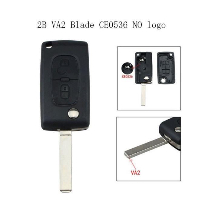 Porte-clés de voiture pliable 2-3-4 boutons pour Peugeot et Citroen, coque sans logo, pour modèles 207 307 308 407 607 [DD6E596]