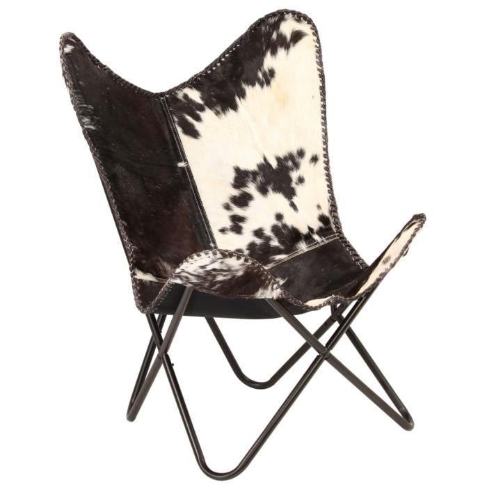 Fauteuil Papillon - Chaise papillon Fauteuil Relax Noir et blanc Cuir véritable de chèvre Excellent #114570