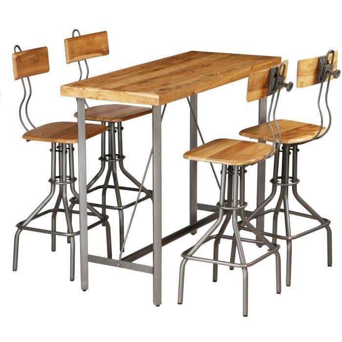 Set de 1 Table + 4 Tabourets Ensemble de bar 5 pcs - Table Haute Cuisine Mange-Debout Teck recyclé massif