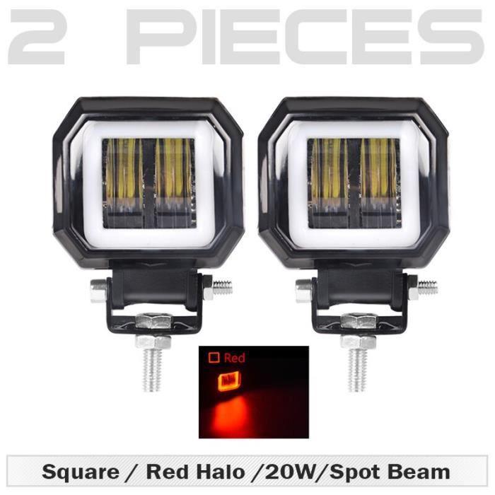 2 pcs Square Red -3 pouces led Rond Léger Carré avec LED Yeux D'ange Lumière Barre antibrouillard 12V 24V Projecteurs Pour Voitur